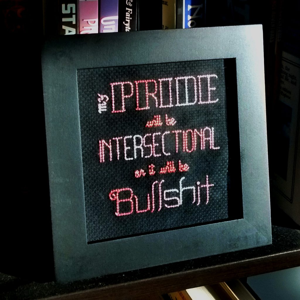 Intersectional Pride message embroidered with backstitch and French knots