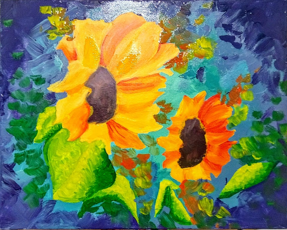 Oil painting of sunflowers against blue background