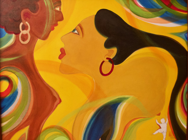 Painting of two transgender women of color in profile
