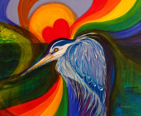 Painting of heron with rainbow background