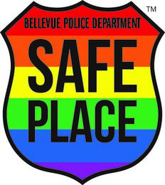 """Rainbow badge with the text """"Bellevue Police Department Safe Place"""""""