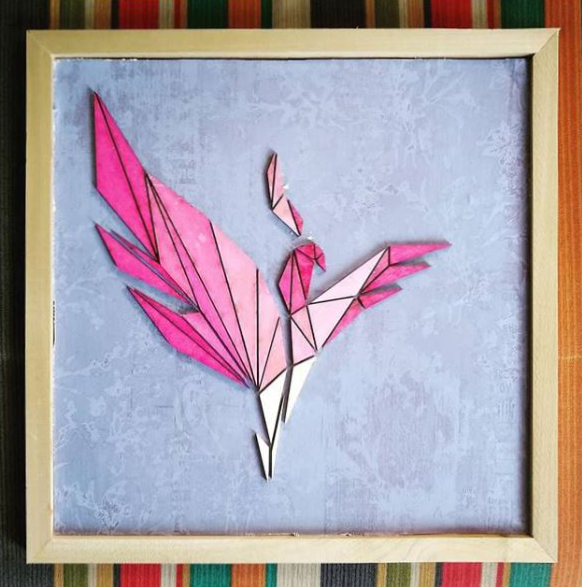 Pink bird in square wood frame